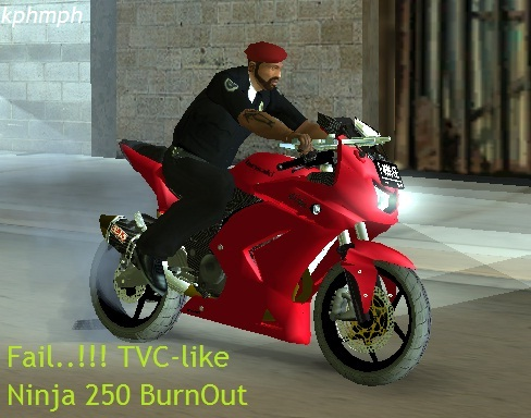 kphmph gta ninja 250 burnout red