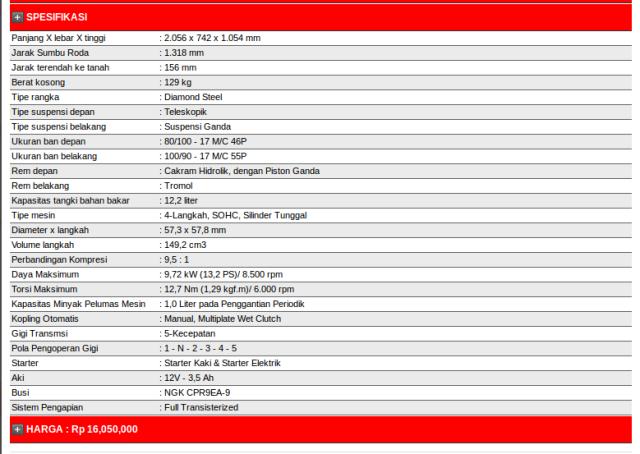 kphmph-spesifikasi-honda verza 150 versi AHM 2